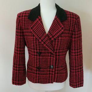 Dior Red & Black Houndstooth Blazer Jacket